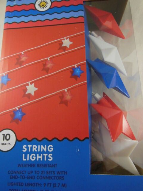 Patriotic Star String Lights Red White