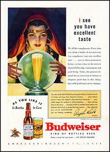 1937 Fortune Teller Budweiser Beer Crystal Ball vintage art print ad S29