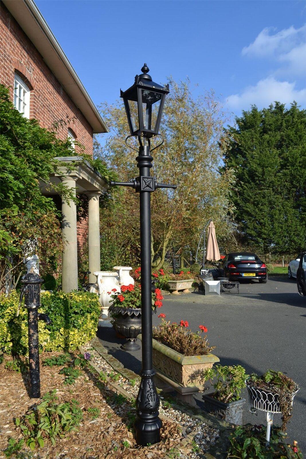 Altura de 2.3 M Negro De Hierro Fundido Tradicional Victoriano lámpara de jardín conjunto Post