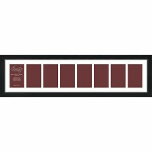 Craig-Frames-1WB3BK-8x34-Black-Collage-Frame-White-Mat-with-8-4x6-Openings