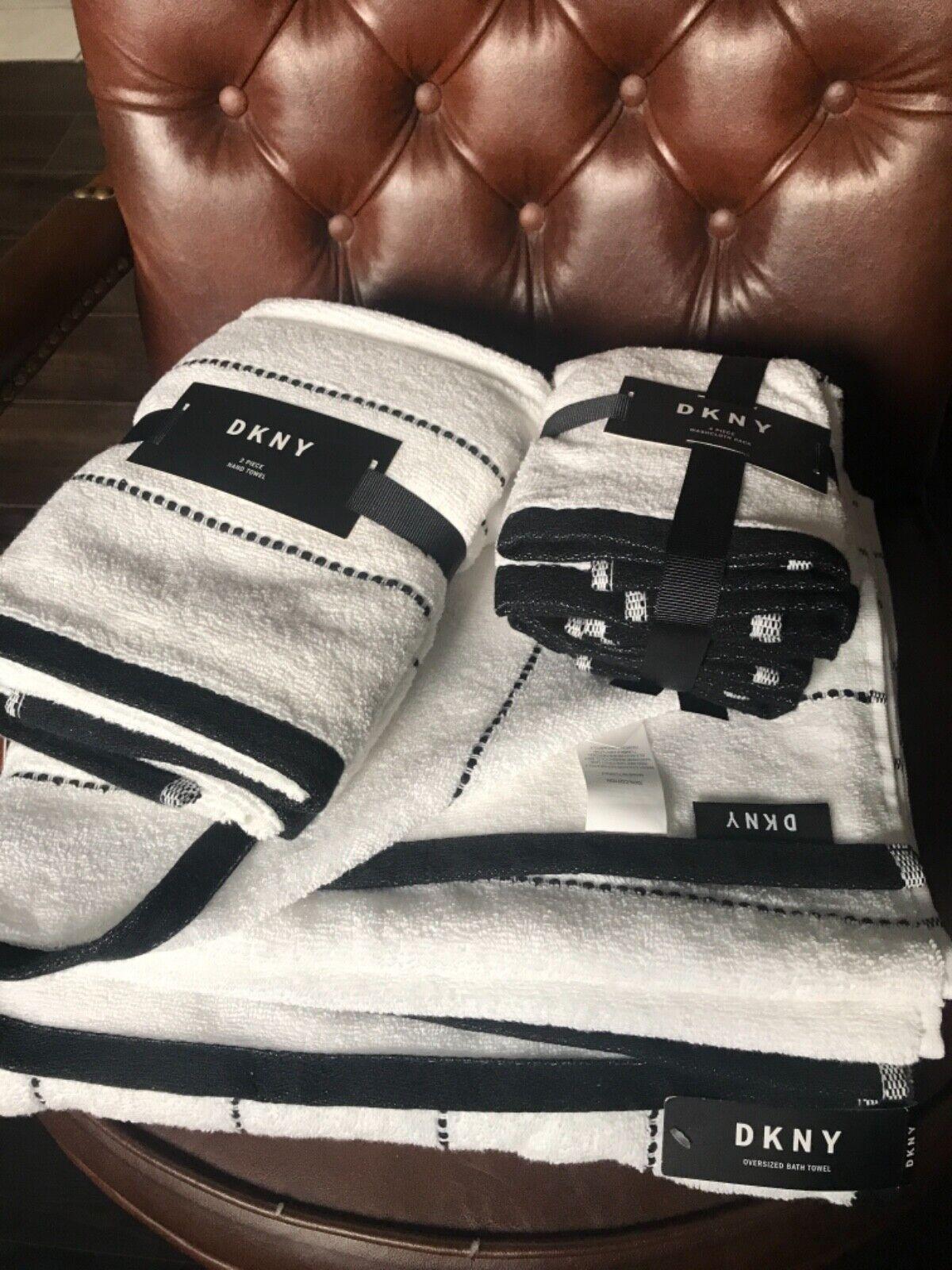 (8) DKNY Bathroom Black White Stripe Bath Towels Hand Towels Wash Cloths ~NEW ~