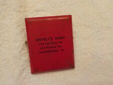 VINTAGE ADVERTISING PAPER CLIP SHIVELY'S DAIRY XHAMBERSBURG PA.