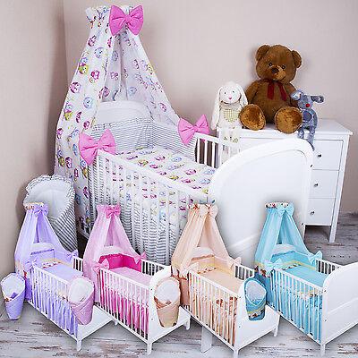 Bettset Baby 8-9 tlg Bettwäsche Nestchen Himmelstange 120x90 Eule❤️ Sommer2019