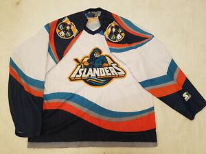 New-York-Islanders-jersey-White-Starter-Mens-Large-L-fisherman-Third-alternate