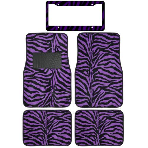 Safari Print Purple Zebra Carpet Floor Mats For Car Truck /& License Plate Frame