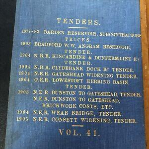 Antique Ledger 1903 Tenders Clydebank Railway Vintage Bridge Reservoir Old Book