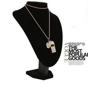 Fashion-Lady-Jewelry-Pendant-Gold-Plated-Crystal-Chain-Whistle-Necklace-Charm