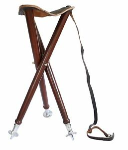 Wooden Folding Chair Stool Leather Seat Camping Fishing
