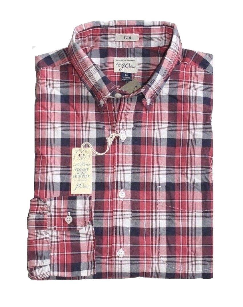 J Crew - Mens M - Slim Fit - NWT - Red Navy bluee Plaid Secret Wash Cotton Shirt