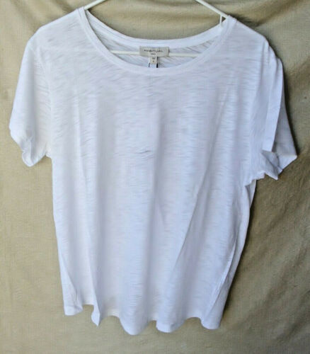 HABITUAL Bright White Short Sleeve TWIST Knit Tee W0MANS SZE LARGE NWT