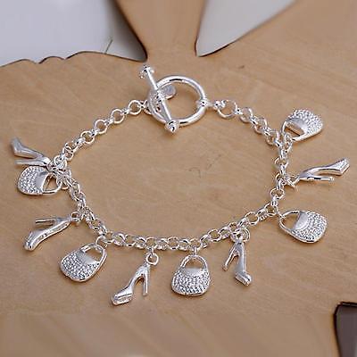 beautiful Fashion cute nice silver Plated charms shoe women bracelet  H108