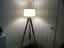 Dark Wood Tripod Floor Lamp-Steampunk/Industrial!