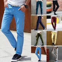 Fashion Men Stylish Designed Straight Slim Fit Trousers Casual Long Pants