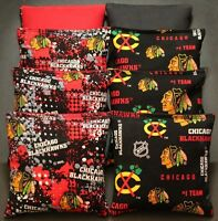 Cornhole Bean Bags Made W All Weather Chicago Blackhawks Fabric Resin Waterproof