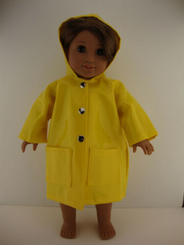 Bright Yellow Rubber Rain Coat Designed for 18 Inch Doll Like the American Girl