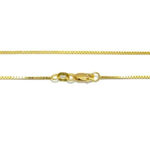 Guaranteed 14K Yellow Gold Box Chain Necklace 1mm w// Lobster Lock