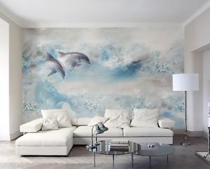 3D Petal Sea Dolphin 8 Wall Paper Murals Wall Print Wall Wallpaper Mural AU Kyra