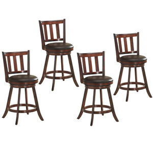 Magnificent Details About Set Of 4 25 Swivel Bar Stool Leather Padded Dining Kitchen Pub Bistro Chair Lamtechconsult Wood Chair Design Ideas Lamtechconsultcom