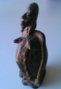 RARE-ANCETRE-DOGON-Statue-bronze-et-pierre-MALI