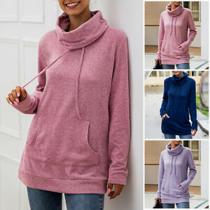Women-Drawstring-Pocket-Cowl-Neck-Hoodie-Sweater-Pullover-Sweatshirts-Blouse-Top