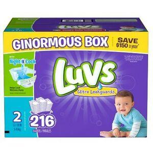 216 CT Luvs Ultra Leakguard Disposable Baby Diaper Sz 2 (12-18 LB) Free Shipping