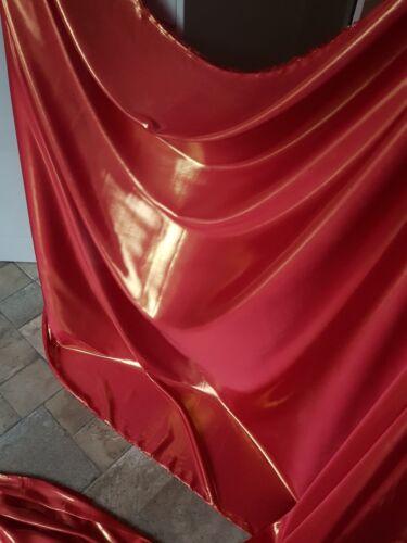 """1 M Rojo//ninguno Strech sedoso Satén Brillo Suave Tela 58/"""" de ancho de decoración vestido"""