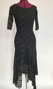 Alexia-Admor-NY-Black-Lace-Party-Prom-Club-Dress-Junior-Slim-M-Asymmetric