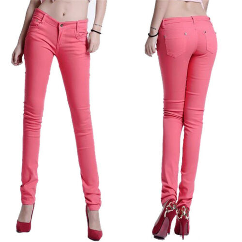 Women Stretch Skinny Cotton Jeans Slim Jeggings High Waist Pencil Pants Trousers