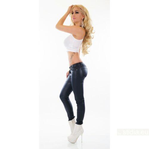 Women/'s stretch en Cuir Synthétique Pantalon Skinny Mid Rise Pantalon Bleu Marine UK 6-14