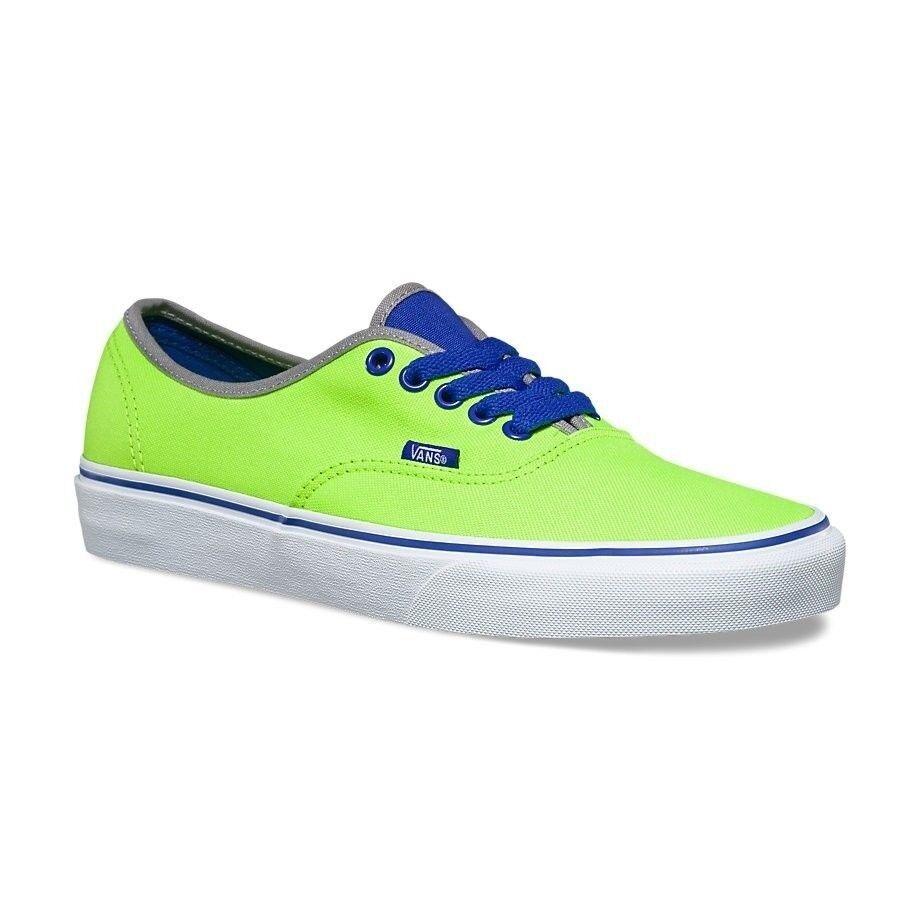 VANS Authentic (Brite) Neon Green/Blue Men's Skate Shoes NEW