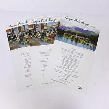 "Set of 3 1963 Jasper Alberta Park Lodge CN Hotels Menu Postcards 10.50"""
