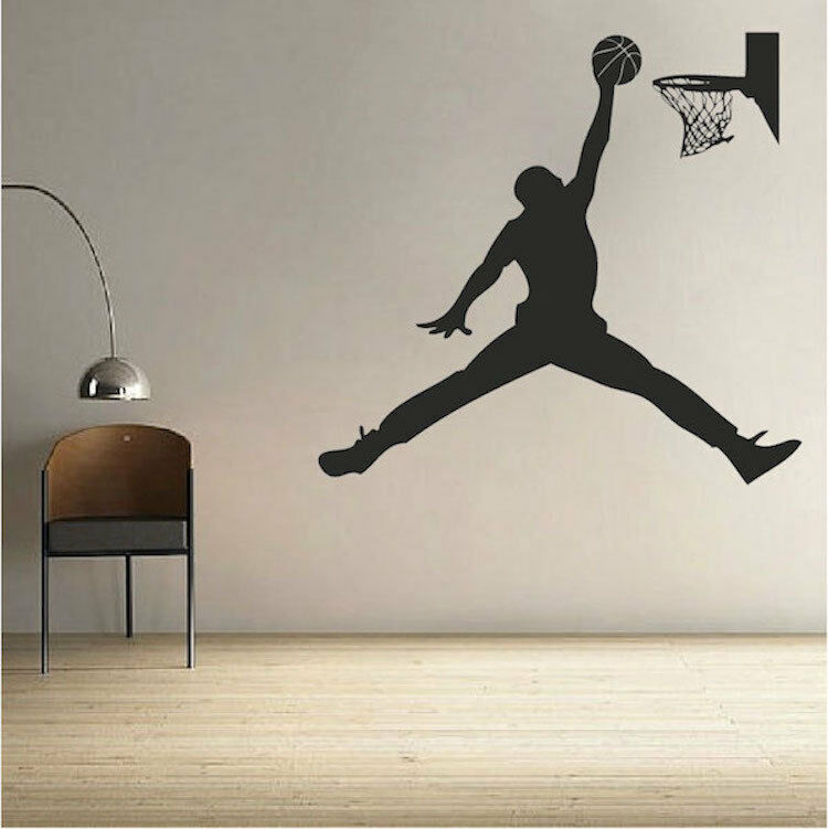Basketball Wall Decal Sports Air Jordan Dunk Art NBA Boys Room Wall Decal, s29