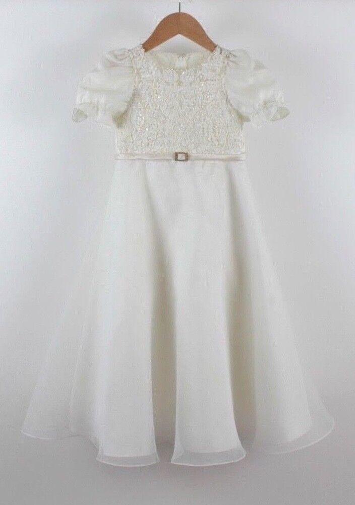 David's Bridal Flower Girl Dress - Ivory Floor-length Gown / Size 4
