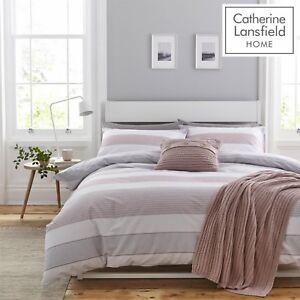 Catherine-Lansfield-Newquay-Stripe-Facile-Soins-Parure-Housse-de-couette-ensemble-de-literie-rose