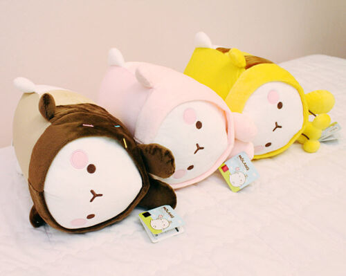 """Molang 14/"""" Lieing Cute Rabbit Bunny Soft Doll Cushion Pillow Anime Toy Gift"""