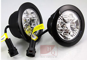 drl daytime running lights round 4 led cree v28 vauxhall vivaro renault trafic ebay. Black Bedroom Furniture Sets. Home Design Ideas