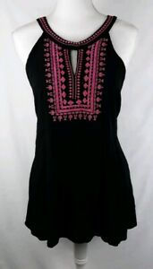 Andree-by-Unit-Boho-Black-Pink-Embroidered-Sleeveless-Tank-Size-Large-EE