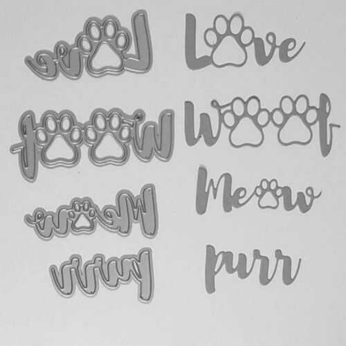 Dog Paws Cutting Dies Cat Claws Die Cuts Woof Love Meow Purr Puppy Kitty Kitten