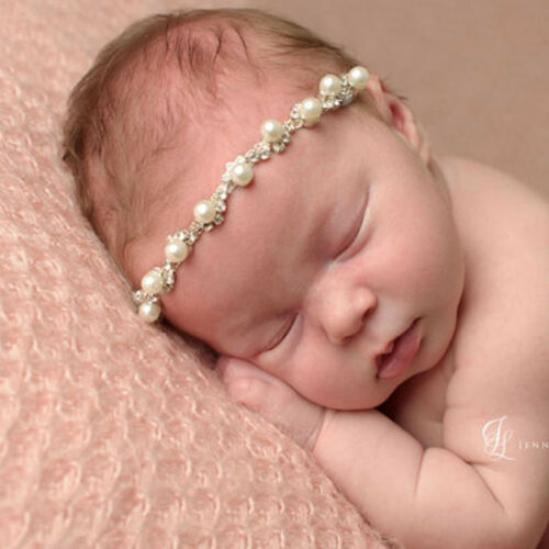 Newborn Baby Pearl Flower Headband Girl Hair Accessories Photography Props