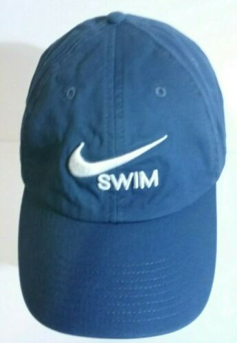 Blue NIKE swim baseball cap hat with embroidered w