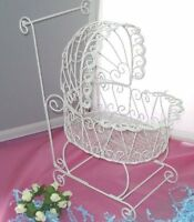 Wire Baby Carriage For Baby Shower Or Christening Decorations - White