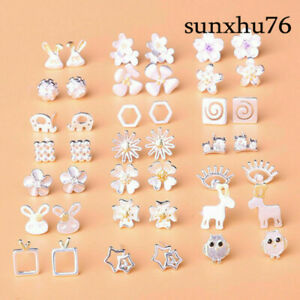 925-Silver-Statement-Women-Stud-Earring-Flower-Animal-Cute-Gift-Anti-Allergy