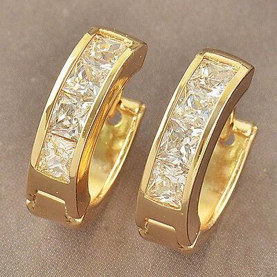 Delicate Womens 9k Yellow Gold Filled Cubic Zirconia Hoop Earrings F3853