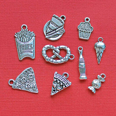 COL077 Coffee Charm Collection Antique Silver Tone 5 Different Charms