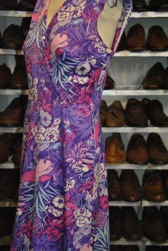 True Dress Silky Vintage Kleid Blumenkleid Glänzend 80s Shiny Flower Violett OwzqtpnUxx