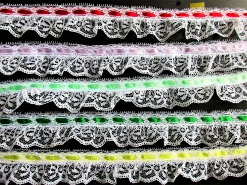 Lovely ruffled lace trim with ribbon = selling by the yard //select color//