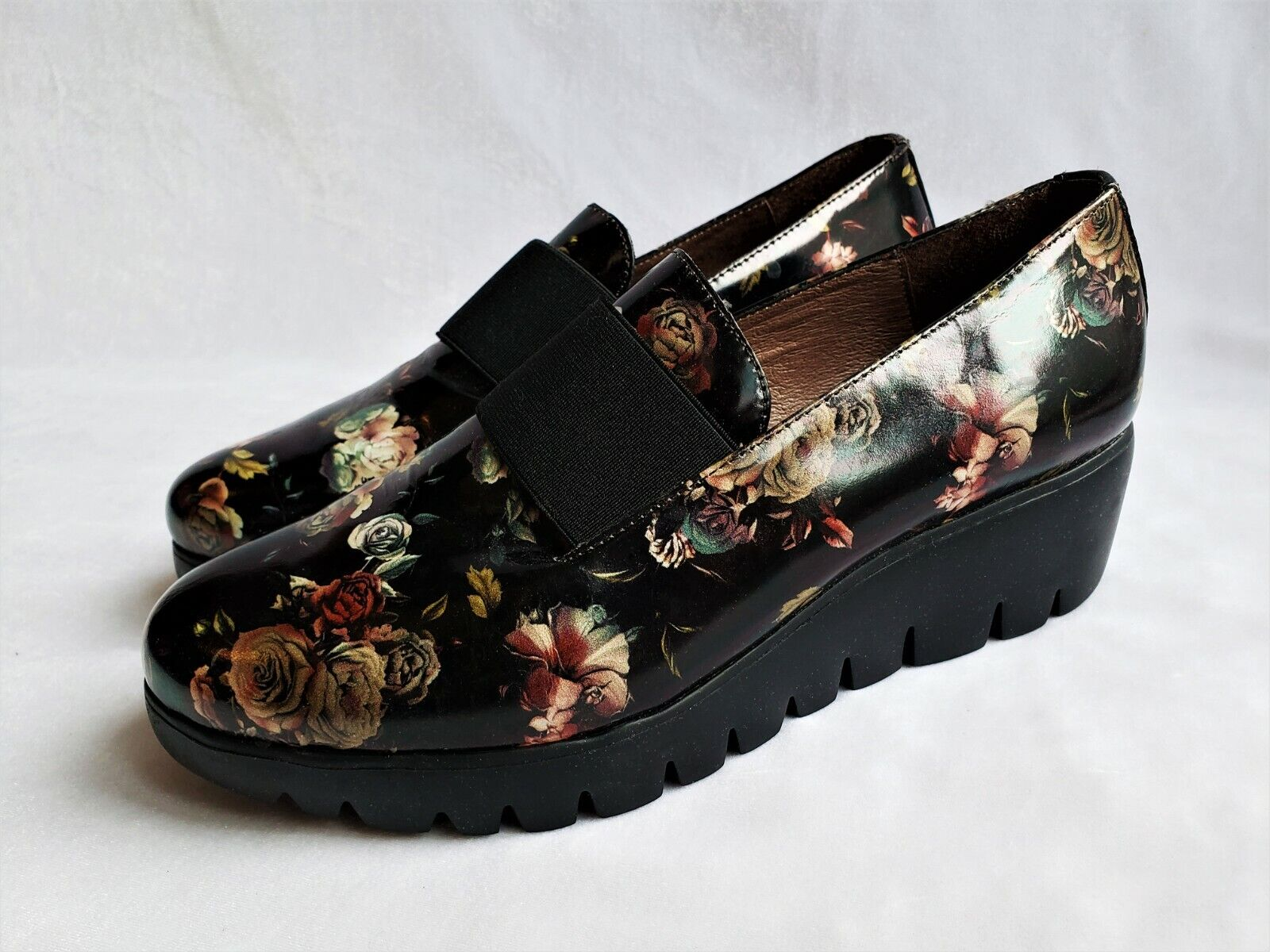 Wonders Women's Shoes Size 7/37 Black Floral Wedge Moccasin Loafer Comfort Spain