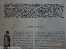 Oscar Wilde Victorian Antique Engraved Illustrated Article London Models 1889