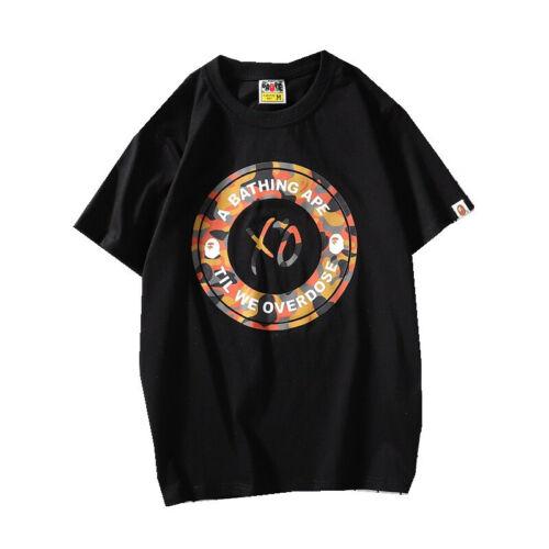 2019//Bape a bathing ape XO Monkey Head T-shirt à encolure ras-du-cou en coton à manches courtes Tee