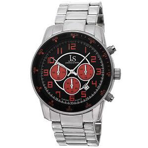 Men-039-s-Joshua-amp-Sons-JS67OR-Quartz-Chronograph-Date-Silver-tone-Bracelet-Watch